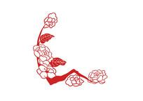原创手绘植物红色剪纸风花树花枝花朵插画
