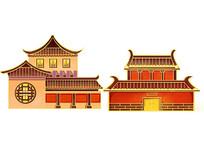 原创手绘中国风古建筑亭台阁楼插画