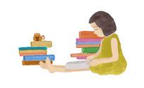 原创小女孩阅读插画设计