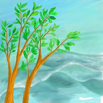 高山树木风景psd分层插画