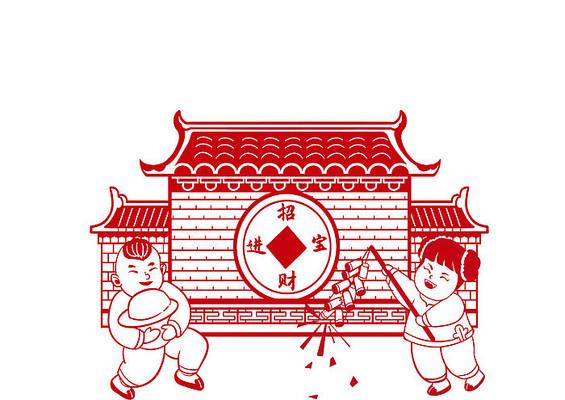 红色剪纸风年画娃娃抱金子放鞭炮庆祝场景