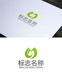 绿叶环保U字母logo设计