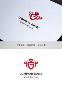 蒙古元素字母G标识logo设计