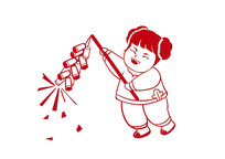 手绘中国风剪纸年画娃娃小女孩放鞭炮插画