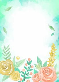 矢量水彩花纹边框素材