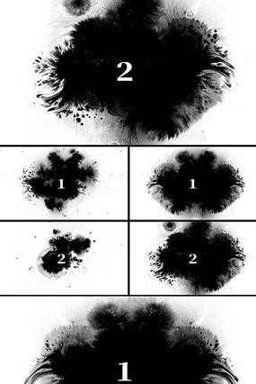 2组水墨墨迹黑滴中国风视频素材带透明通道