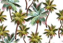 热带雨林棕榈树服装印花图案
