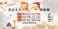 水墨中国风社会主义核心价值观党建文化展板