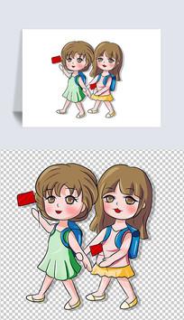 一起去上学女孩卡通插画