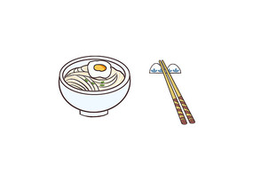 原创手绘面食一碗面条加鸡蛋卡通插画