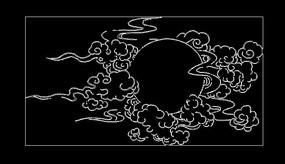 cad祥云太阳线稿图案