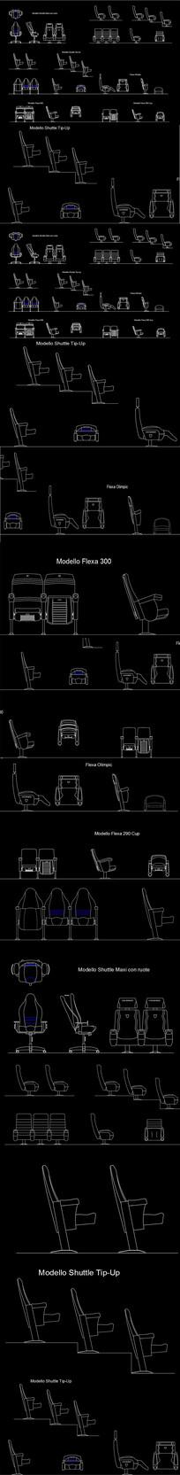 电影院阶梯教室椅子CAD图块