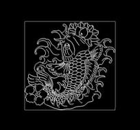 锦鲤cad线稿图木雕图案