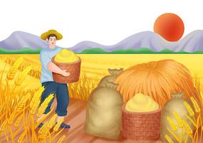 手繪農民勤勞耕作大豐收秋收小麥場景插畫