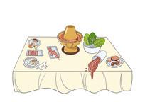 原创手绘扁平吃火锅剩余食材场景卡通插画
