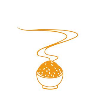 原创手绘黄色剪纸风飘着香气的米饭插画