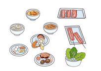 原创手绘火锅食材丸子蔬菜面食卡通插画