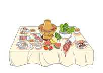 原创手绘卡通扁平吃火锅剩余食材场景插画