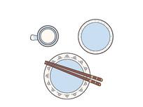 原创手绘一套白底蓝花餐具碟碗盘勺筷插画