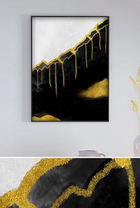 现代极简意境山水轻奢艺术黑白装饰画
