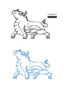 原创设计牛插画牛卡通装饰牛