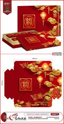 红色喜庆中秋节月饼包装设计