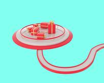 原创红色礼盒舞台模型