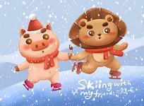 原创滑雪的小动物