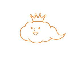 原创手绘卡通带皇冠的云朵简笔画