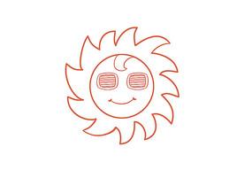 原创手绘卡通戴墨镜的太阳简笔画