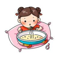 吃大碗方便面的小女生