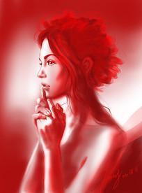 红发女孩原创插画