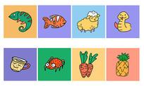 卡通手绘动植物元素小插画