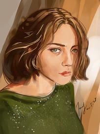 女孩头像手绘插画