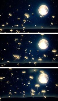 4K蒲公英夜黑风高月夜星空夜色视频素材