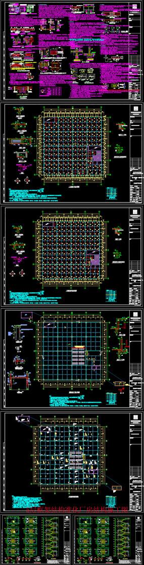 5层框架结构准化厂房结构CAD施工图
