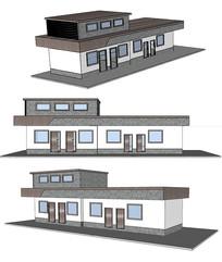 材质拼接驿站小型建筑su模型