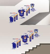 蓝色警营楼梯走廊布置文化墙