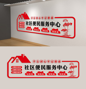 社区便民服务中心社区党建文化墙