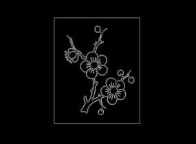 桃花樱花cad线稿雕刻图案