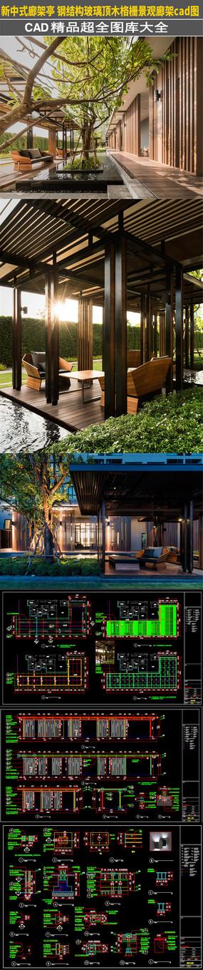 新中式廊架亭钢结构玻璃顶木格栅CAD图