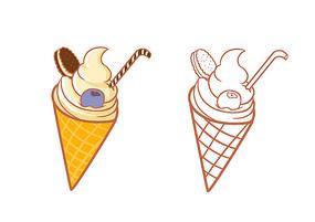 原创手绘卡通蓝莓饼干蛋卷冰淇淋插画