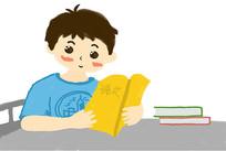 原创阅读小男孩卡通设计
