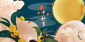 国潮风中秋节背景