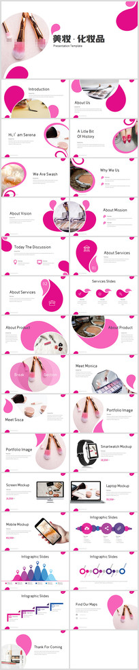 美容护肤美颜化妆品宣传PPT模板