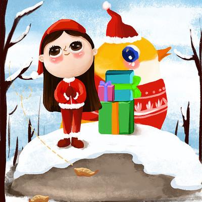 原创卡通圣诞节女孩小鸟雪景