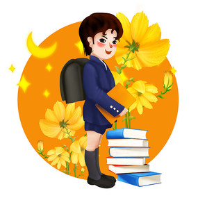 原创上学背着书包的中学男孩