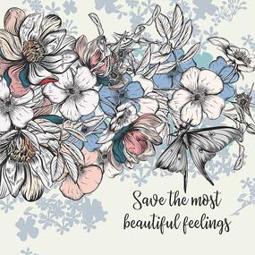 素描蝴蝶花卉线条印花图案