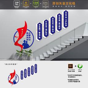 警营楼梯标语文化墙设计