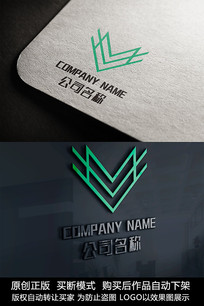 V字母logo标志字母商标设计